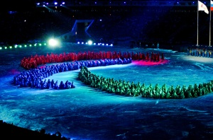 photo by Katie Harris The dancers created the Paralympic Symbol for thousands of people at the Closing Ceremonies.