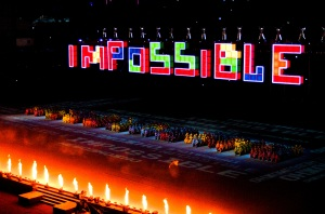 "photo by Katie Harris The Tetris block turned to form the apostrophe making ""Impossible"" ""I'mPossible."""