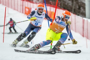 photo by Michael A. Clubine Mark Bathum and guide Cade Yamamoto earned the best time for the USA in alpine skiing, coming in fourth in visually impaired slalom with just one second between them and third place.