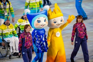 photo by Michael A. Clubine The 2014 Sochi Mascots enter the Closing Ceremonies.