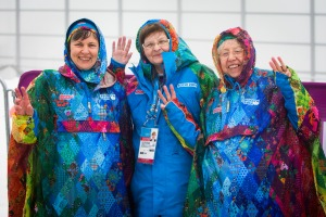 photo by Ken King Three Sochi 2014 volunteers, all named Larissa, ask for their photo to be taken at the Cross Country Paralympic course.