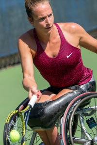 Photo by Michael A. Clubine Jiske Griffioen (NED) competes at the 2014 US Open in Wheelchair Women's Singles: Round 1.
