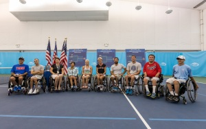 Photo by Michael A. Clubine Players unite at the draw for matches during the US Open. Pictured are (left to right) David Wagner, Andy Lapthorne, Sharon Walraven, Yui Kamiji, Jordanne Whiley, Sabine Ellerbrock, Michael Jeremiasz, Joachim Gerard, Nick Taylor, and Nate Melnyk.