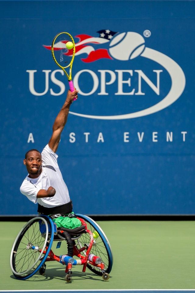 Photo by Michael A. Clubine  Lucas Sithole (RSA) competes at the 2014 US Open in Wheelchair Quad Singles.