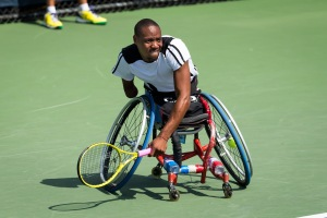 Photo by Michael A. Clubine Lucas Sithole (RSA) competes at the 2014 US Open in Wheelchair Quad Singles: Round 1.