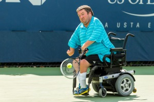 Photo by Michael A. Clubine Nick Taylor (USA) competes at the 2014 US Open in Wheelchair Quad Singles: Round 1.