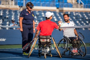 Photo by Michael A Clubine Shingo Kunieda (JPN) and Michael Jeremiasz (FRA) compete at the 2014 US Open in Wheelchair Men's Singles: Round 1.