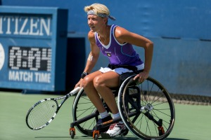Photo by Michael A. Clubine Sabine Ellerbrock (GER) competes at the 2014 US Open in Wheelchair Women's Singles: Round 1.