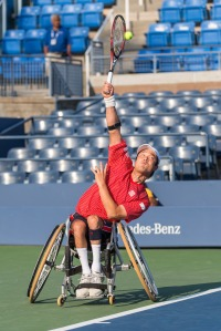 Photo by Michael A. Clubine Shingo Kunieda (JPN) competes at the 2014 US Open in Wheelchair Men's Singles: Round 1.