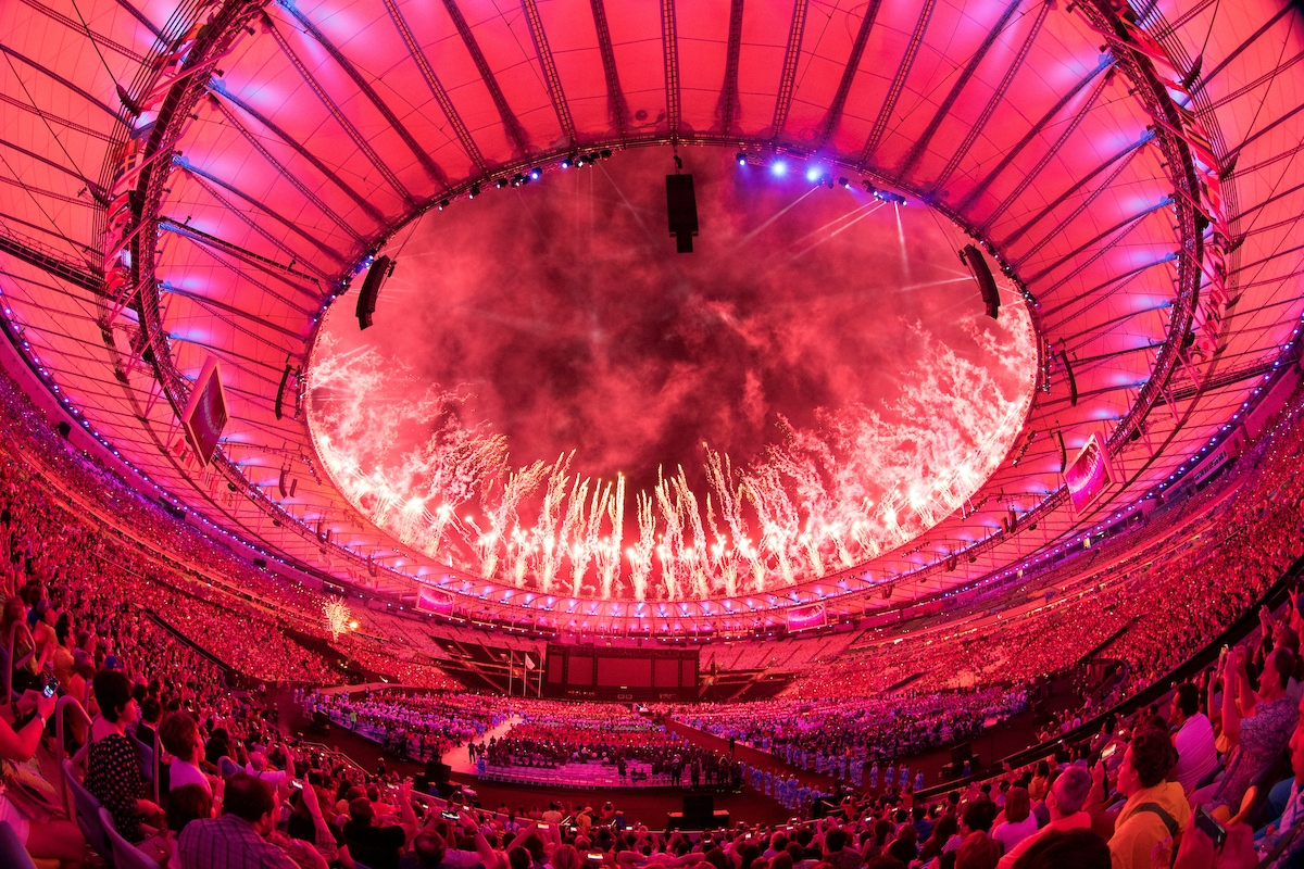 Fireworks over the roof during the Closing Ceremony of the Rio 2016 Paralympic Games at the Maracanã Stadium. The Paralympic Games, Rio de Janeiro, Brazil , Sunday 18th September 2016. Photo: Simon Bruty for OIS/IOC.  Handout image supplied by OIS/IOC