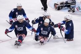 Yeam USA Celebrates after a goal in the first period against Italy. PHOTO CREDIT: Michael A. Clubine