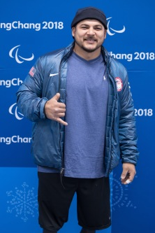 Defenseman Ralph DeQuebec posing for a photo in the Mixed Zone at The Patalympics Practices session on March 8, 2o18